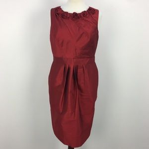Adrianna Papell Red Metallic Fabric A-line Dress
